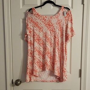1x orange pink & white cold shoulder tshirt